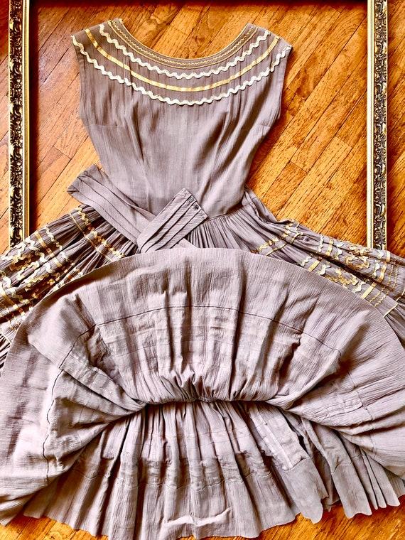 Vintage 1950's Crêpe Chiffon Dress - image 9