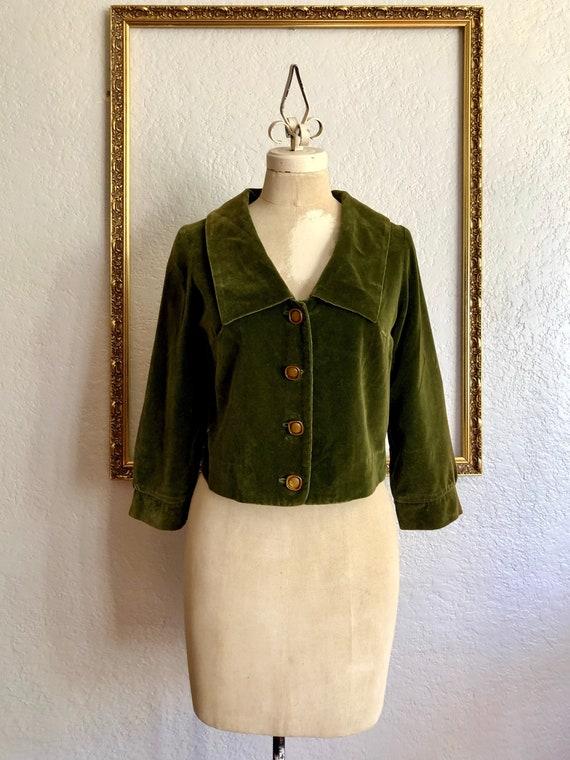 Vintage 1950's Green Velvet Jacket