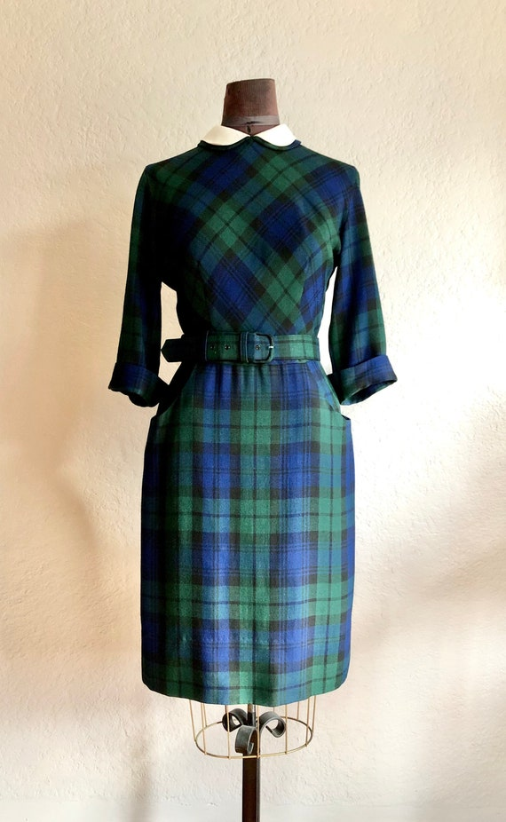 Vintage 1950s Plaid Dress with Peter Pan Collar