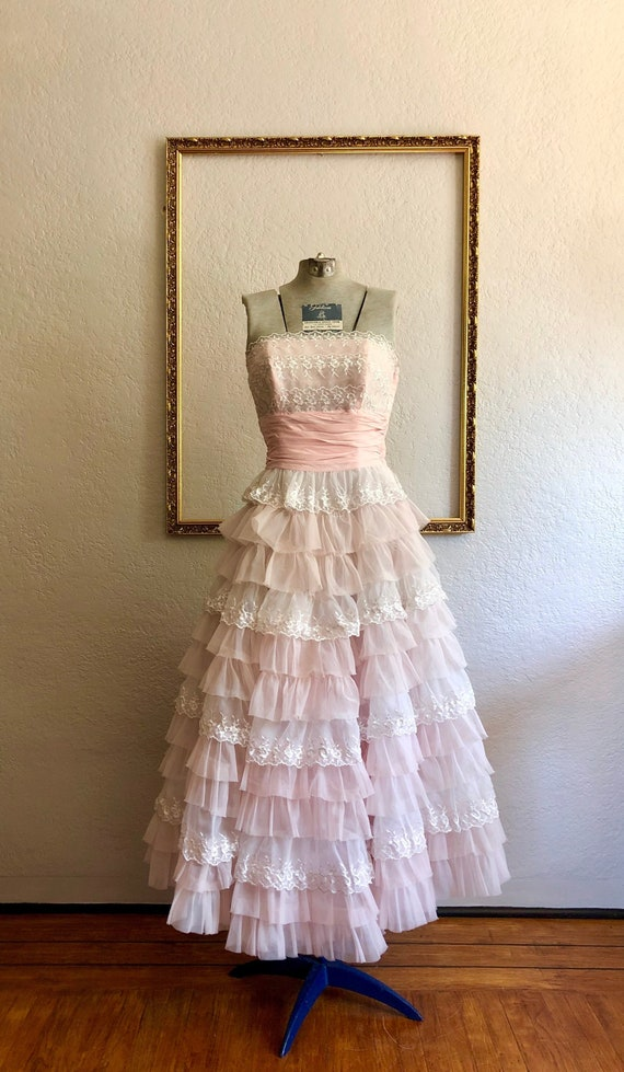 Vintage 1950's Strapless Gown