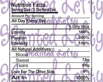 Sports Fan Nutritional Facts Cut File - Add Your Own Team