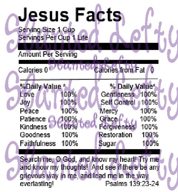 jesus nutrition facts template custom editable edit to etsy