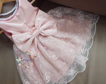 7650698f9 Blush lace flower girl dress Toddler girl dress Lace dress for girls Ivory  lace dress Girls special occasion dress First communion dress