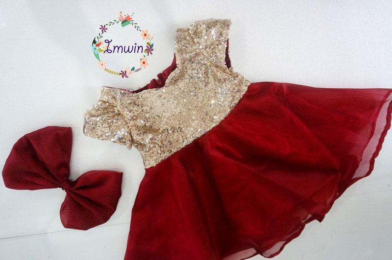 6e6ab1803 Gold Burgundy flower girl dress Wedding party dress Toddler   Etsy