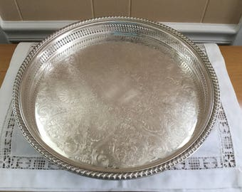"Large WM Rogers Round Butlers Tray, 15"" butler's tray, reticulated pierced border,gadroon rope edge"
