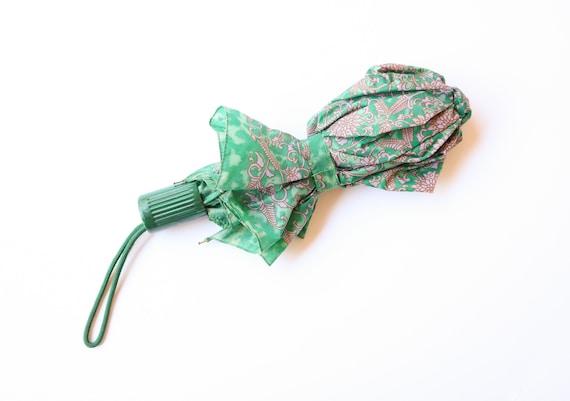 1970s Christian Dior Parasol Umbrella Jade Floral