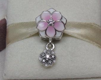 bdbb7b884 Magnolia Bloom Floral Enamel & Pink CZ Dangle Charm 925 Sterling Silver Fit  Pandora bracelet 792077PCZ