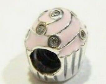 f7e4ec5d0 Sweet Cupcake, Pink With CZ'S Charm 925 Sterling Silver Fit Pandora bracelet  791891EN68