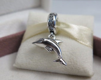 33536648f Playful Dolphin Charm 925 Sterling Silver Fit Pandora bracelet 791541CZ