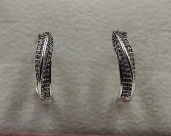 cbba2fb8a Elegant Waves Hoop Earrings 925 Sterling Silver Fit Pandora 297097CZ