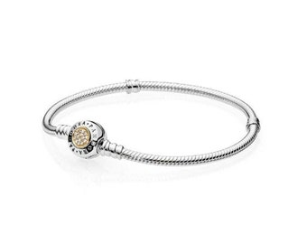 86eba415a 100% 925 Sterling Silver Signature Two-Tone Clasp CZ Bracelet Fit Pandora  Bracelet 590741CZ