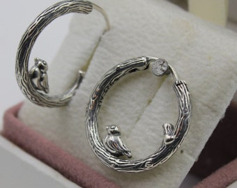 ceddba880 Spring Bird Sterling Silver Hoop Earrings 925 Sterling Silver Fit Pandora  297072