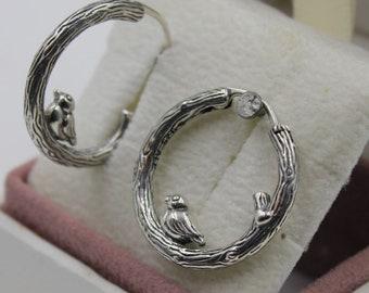 c0d7c6a95 Spring Bird Sterling Silver Hoop Earrings 925 Sterling Silver Fit Pandora  297072