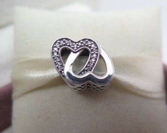 8a844d4c0 Entwined Love two Hearts Charm 100% Sterling Silver charm Fit Pandora  bracelet 791880CZ