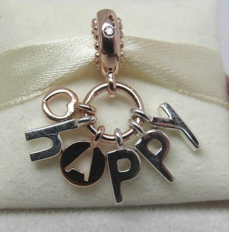 af72bb003 Be Happy Dangle Charm 925 Sterling Silver Fit Pandora bracelet | Etsy