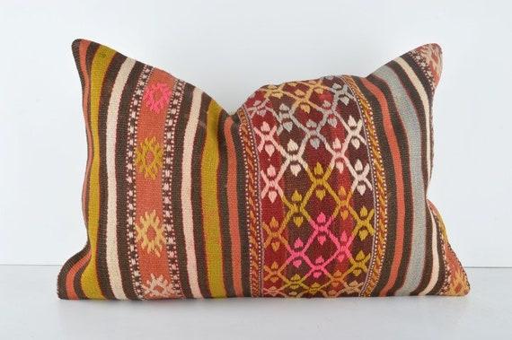 Coussin décoratif en Kilim 16 x 24, coussin lombaire, bohème coussin Kilim, Home Decor, coussin, housse de coussin Kilim, 16 x 24 pouces coussin Kilim