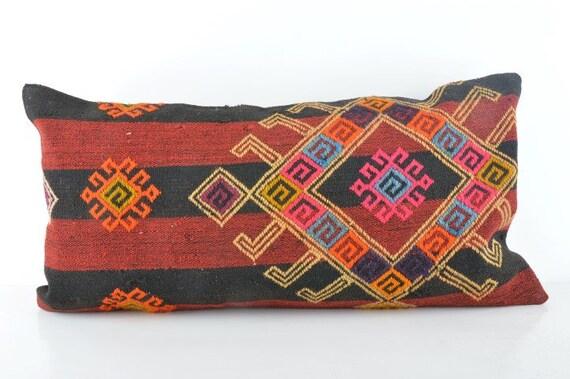 kilim décoratif 12 x 24 vintage kilim turc coussin oreiller lombaire coussin ethnique coussin Coussin housse de coussin