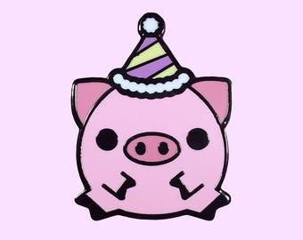 Pig Enamel Pin, Limited Edition, hard enamel, pig, lapel pin, cute enamel pin, enamel pig, teacup pig, kawaii enamel pin, pig pin, party pig
