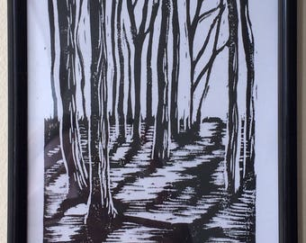 Forest lino print