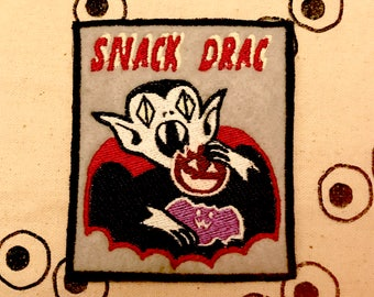 Halloween 2017 Snack Drac Vampire Dracula Embroidered Patch - Glows in the Dark