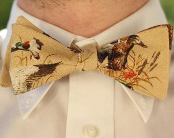 Self Tie SILK Bow BRITISH MADE Mens Bowtie FLYING DUCK MALLARD BEIGE