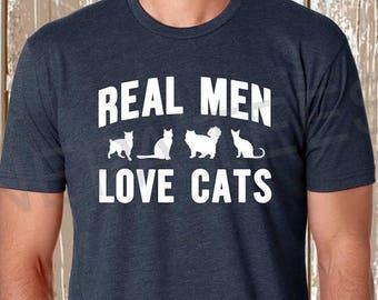 Real men love cats t shirt, Mens cat t shirt, Cat t shirt, Funny cat t shirt, Cat husband gift