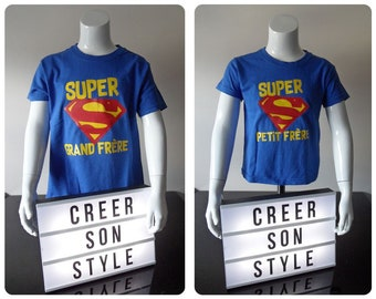 "Tee personalized kids shirt ""super-wide brother super brother"" gift idea for brother"