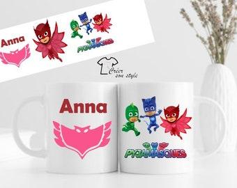 "Mug - pencil pot - personalized piggy bank ""pyjamasques"" (4 models), children's mug, birthday gift"