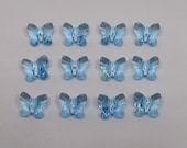 12pc or 48pc Swarovski Crystal Aquamarine Butterfly 5754 6mm Beads Center Drilled March Birthstone Blue Green Teal