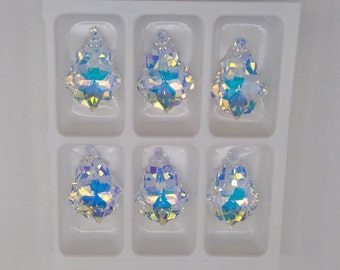6pc Swarovski Crystal Clear AB 16mm Baroque 6090 Pendants; Wholesale Bulk Lot