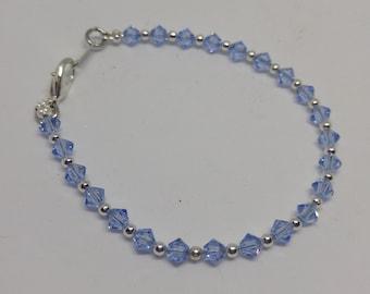 Light Sapphire Swarovski Crystal and Steel Bracelet