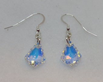 Sterling Silver Swarovski Baroque Crystal AB Earrings