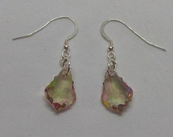 Sterling Silver Swarovski Crystal Purple Haze Baroque Earrings