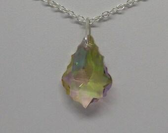 Sterling Silver Swarovski Crystal Purple Haze (Lemon, Violet, Lime) Baroque Necklace