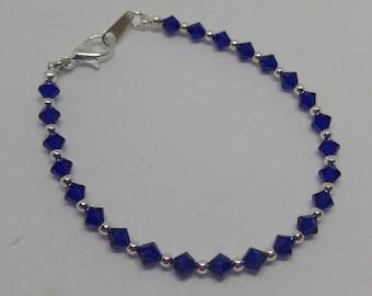 Cobalt (Deep Vivid Blue) Swarovski Crystal and Steel Bracelet