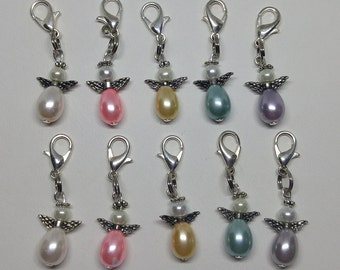 5 or 20pc Pastel Pearl Guardian Angel Zipper Pulls/Charms/Pendants; Wholesale Bulk; Bridal/Baby Shower Gift; Party Favors; Thank You Gifts