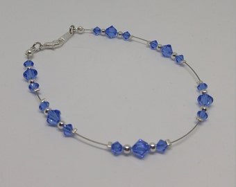 Sapphire Swarovski Crystal and Steel Anklet