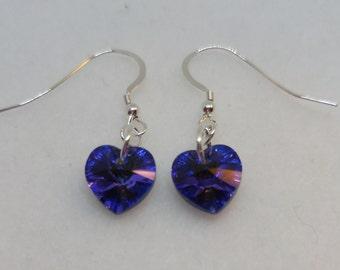 Sterling Silver Swarovski Crystal Heliotrope Heart Earrings