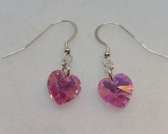 Sterling Silver Swarovski Crystal Rose AB Heart Earrings (October Birthstone)