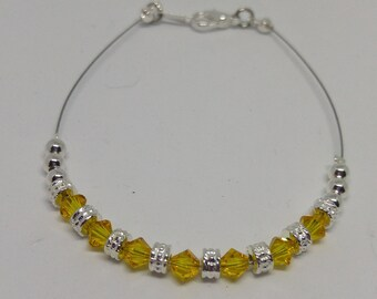 Light Topaz Swarovski Crystal Anklet