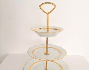 vintage cake stand french Apple dureil white and gold
