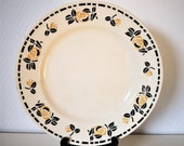 Round serving platter transferware ironstone Miami beige yellow and black rose pattern french vintage