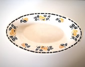 Platter ravier transferware ironstone Miami beige yellow and black rose pattern french vintage