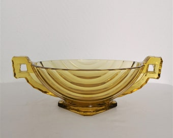 Cup/Bowl/Salad Bowl with handles fruit style trophy round yellow art glass deco