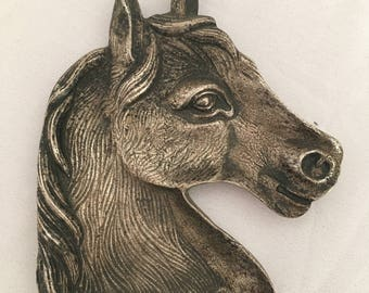 french vintage tidy / dish metal horse head