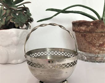 french silver openwork vintagepanier twisted handle