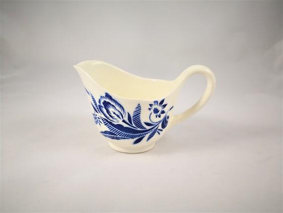 Cremier Pot A Lait Ceramique Blanche Fleurs Bleu Badonviller Etsy