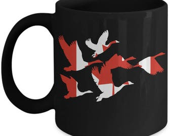 Canada Goose Coffee Mug Canadian Flag Geese In Flight