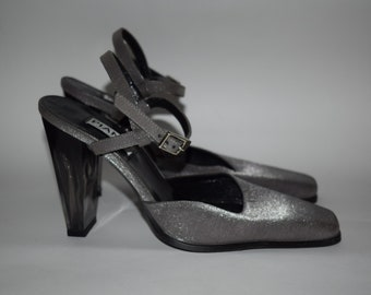 3c750418461 Vintage 90s Clear Heel Gray Glitter Shiney Strappy High Heels Party Shoes  Size EU 38 UK 5 US 7