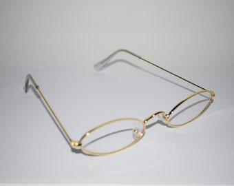 bd02629ca1 Vintage 90 s Gold Clear See Through Sheer Sunglasses Clear Lenses Gold  Frames